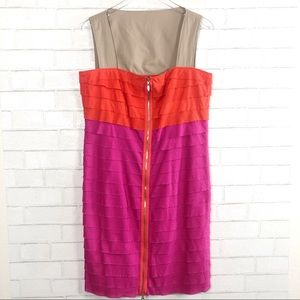ESCADA SPORT Color Block Zip Up Tiered Dress